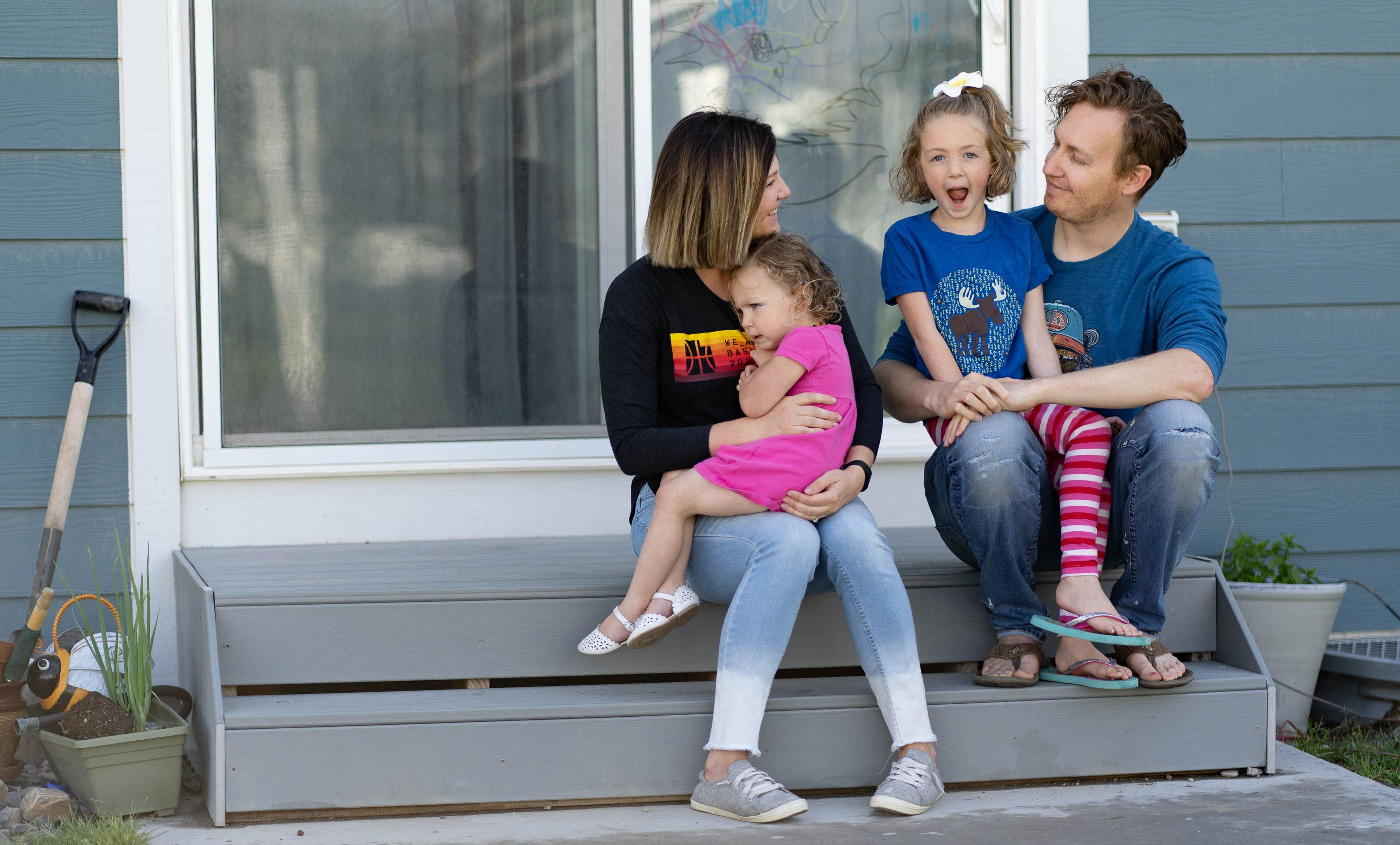 (Francisco Kjolseth | The Salt Lake Tribune) Justin and Amy Beagley spend time with their daughters Cora, 5, and Sedona, 2, near their home in Bluffdale on Wednesday, May 26, 2021. The young couple wanted to have kids shortly after they married in 2012 but worried about their finances, so they put it off a few years.