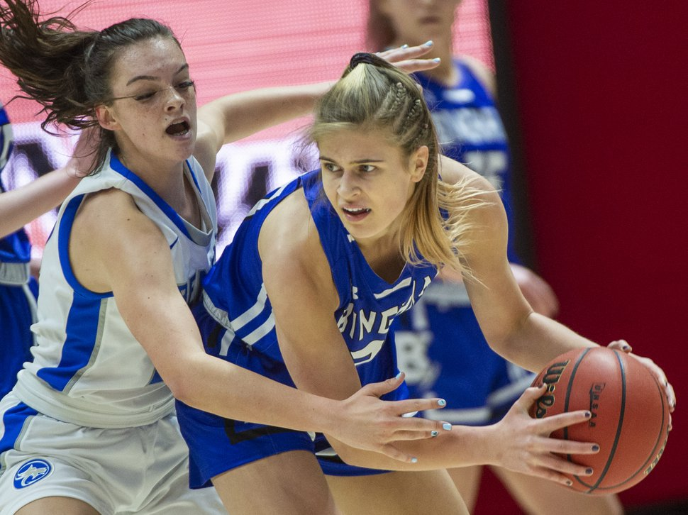 (Rick Egan | The Salt Lake Tribune) Fremont Sliverwolves Averee Porter (23) guards Bingham Miners Sierra Lichtie (20) in the 6A championship game, between the Fremont Sliverwolves and the Bingham Miners, at the Jon M. Huntsman Center, Saturday Feb. 29, 2020