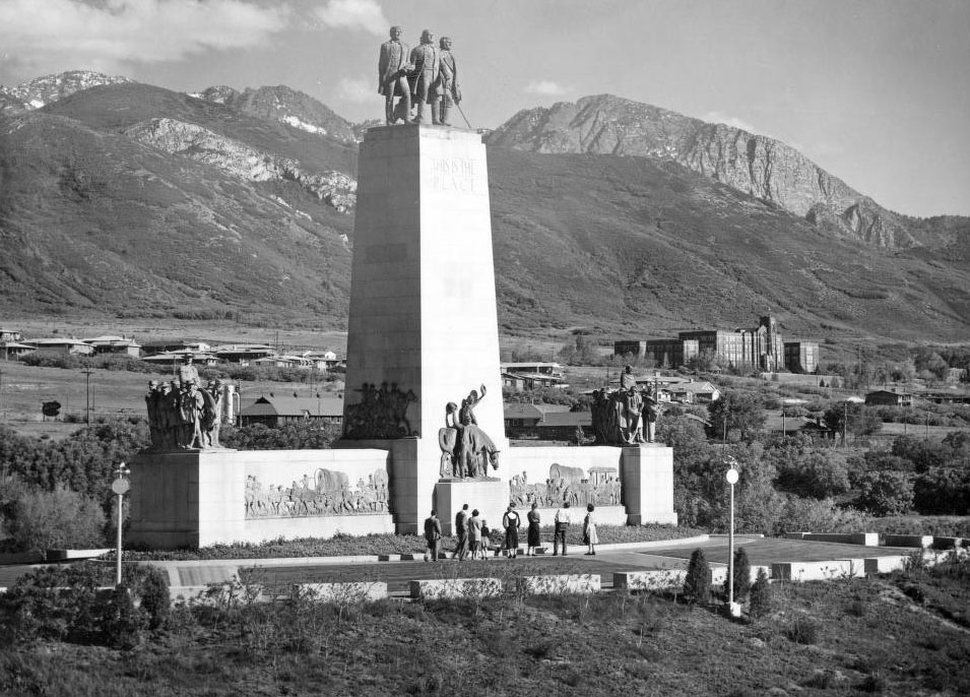 (Courtesy Utah State Historical Society) Visitors are seen at the This Is The Place monument in 1955.