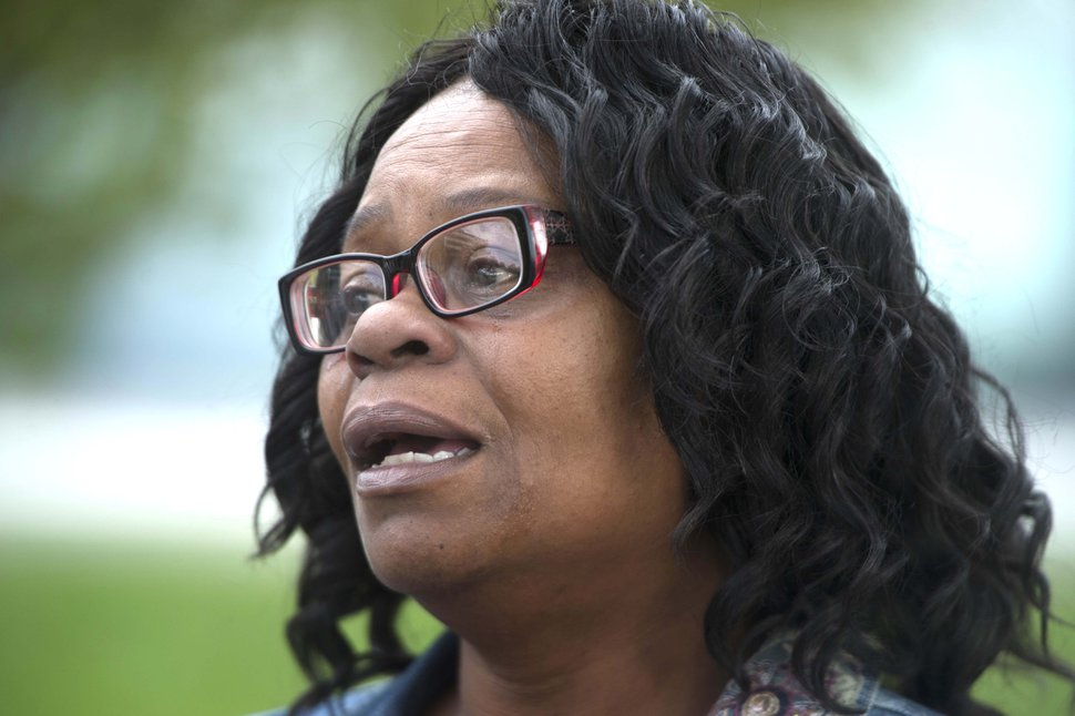 (Rick Egan | The Salt Lake Tribune) Antoinette Harmon, the sister of Patrick Harmon, talks about her brother, at the Black Lives Matter protest against police brutality. The protesters are calling for the release of body camera footage of an officer fatally shooting 50-year-old Patrick Harmon at the Salt Lake City Public Safety Building, Saturday, September 30, 2017.
