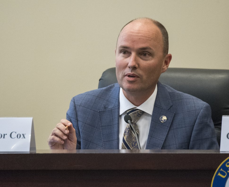 (Rick Egan | The Salt Lake Tribune) Lt. Gov. Spencer Cox, makes a comment as the U.S. House Natural Resources Committee (chaired by Rep. Rob Bishop) holds a forum about how to address catastrophic wildfires, at the State Senate Building, Thursday, Aug. 30, 2018.