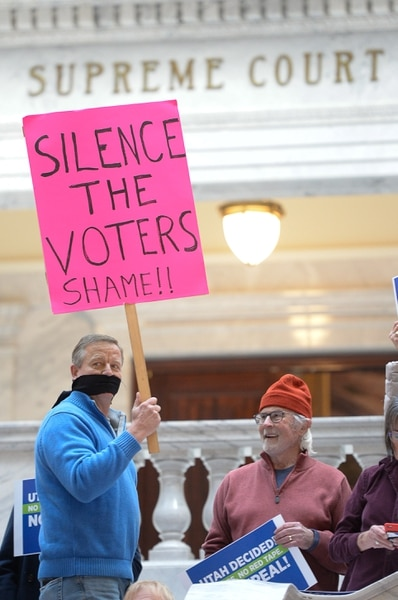 (Francisco Kjolseth | The Salt Lake Tribune) Eric Wilson expresses his sentiments as he joins over 300 demonstrators in the Capitol rotunda on Monday, Jan, 28, 2019, on the first day of the Legislative session to rally in support of protecting Proposition 3, the Medicaid Expansion law recently passed by voters.