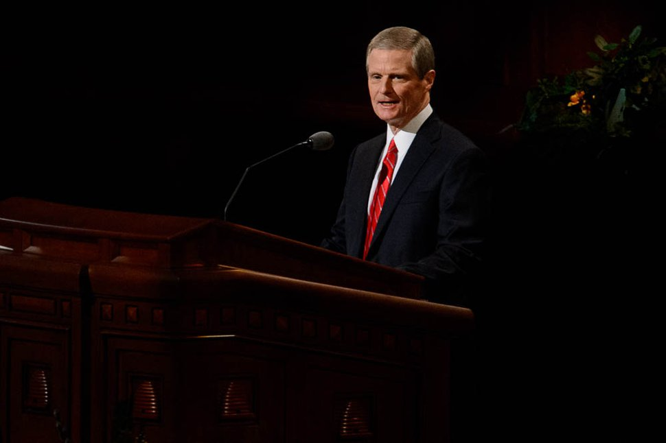 (Trent Nelson | The Salt Lake Tribune) David A. Bednar speaks during the afternoon session of the189th Annual General Conference of The Church of Jesus Christ of Latter-day Saints in Salt Lake City on Sunday, April 7, 2019.