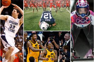 (Tribune file photos) A collection of the decade's biggest moments in Utah sports, clockwise from left: BYU basketball's Jimmer Fredette shoots against UTEP in a game at Provo, Thursday, Dec. 23, 2010; BYU wide receiver JD Falslev (12) collapses on the field after a potential game-tying field goal is missed against Utah on Saturday, Sept. 15, 2012; Noelle Pikus-Pace wins silver in the women's skeleton competition at the 2014 Winter Olympics in Sochi, Russia, Friday Feb. 14, 2014; Jazz guard Donovan Mitchell (45) and forward Derrick Favors (15) celebrate winning the NBA Playoffs first round series over the Oklahoma City Thunder, Friday, April 27, 2018.