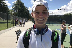 (Aaron Falk | The Salt Lake Tribune) Lone Peak's Brigham Andrus was the Class 6A state boys' tennis individual champion