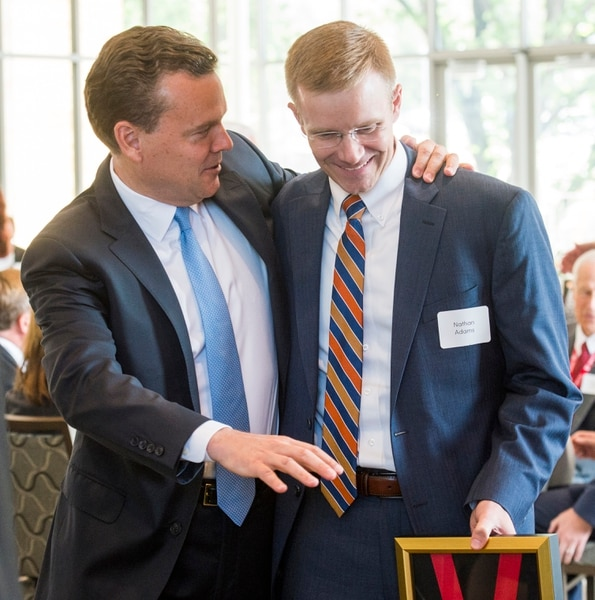 (Rick Egan | The Salt Lake Tribune) Peter Huntsman chats with Nathan Adams as the University of Utah named Adams as one of the six new Jon M. Huntsman Presidential Chairs, funded by the Huntsman Family Foundation, during a ceremony at the Alumni House, Tuesday, June 19, 2018.