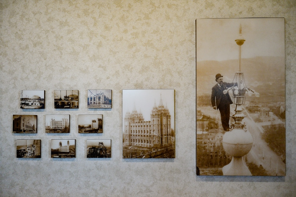 (Francisco Kjolseth | The Salt Lake Tribune) Historic photographs of the construction of the temple in Salt Lake City are displayed at the temple square south visitors center on Wed. Dec. 4, 2019. Representatives from The Church of Jesus Christ of Latter-day Saints gave insights into plans for extensive temple renovations set to close the temple Dec. 29, 2019, through 2024. Parts of the Temple Square Plaza are also set to be renovated.