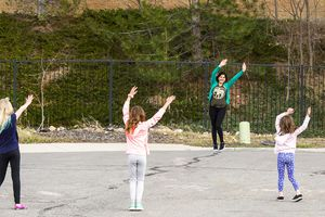 (Rick Egan  |  The Salt Lake Tribune)     Anju Thapaliya Sharma leads her neighbors in Midvale take part in a social distance Zumba session, Tuesday, March 24, 2020.
