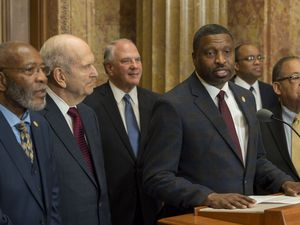 (Jeremy Harmon     The Salt Lake Tribune) Derrick Johnson, president and CEO of the NAACP, speaks during an event on May 17, 2018, when LDS and NAACP leaders emphasized a need for greater civility and call for an end to prejudice. President Russell M. Nelson is at the left. The group plan to make another announcement Monday.