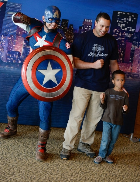(Francisco Kjolseth | The Salt Lake Tribune) Utah-based military families including Andrew Edtl and his son James, 6, gather for the Salt Lake opening night of the all-new Marvel Universe LIVE! Age of Heroes, witnessing their favorite Marvel super heroes, including Captain America, The Avengers, Spider-Man and the Guardians of the Galaxy in an action-packed adventure at the Maverik Center on Thursday, Sept. 28, 2017. MarvelÕs greatest military Super Hero Captain America was partnered with Got Your 6, a military veteran non-profit group dedicated to empowering veterans to lead and build stronger communities across America.