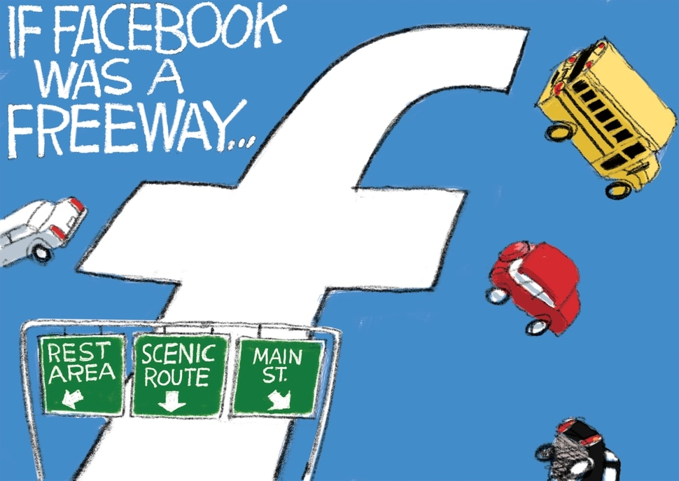 (Pat Bagley | The Salt Lake Tribune) This cartoon, titled Facebook Freeway, appears in The Salt Lake Tribune on Sunday, Oct. 27, 2019.