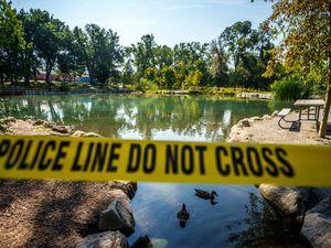 (Trent Nelson  |  The Salt Lake Tribune) Yellow tape surrounds the Fairmont Park Pond in Salt Lake City on Thursday, Sept. 9, 2021. Testing has revealed the potential presence of mercury.