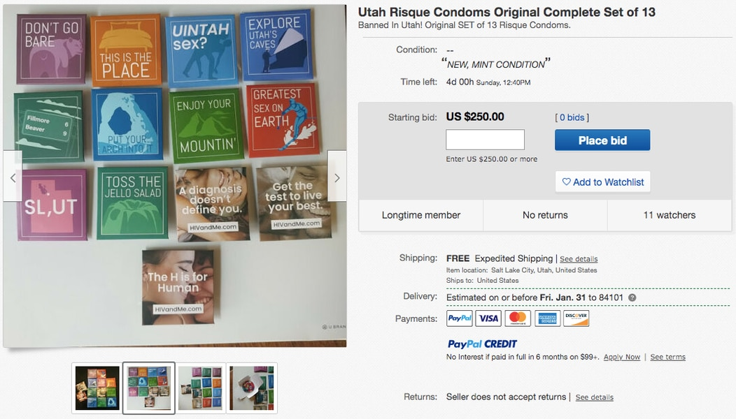 Recalled Utah condoms appear on eBay