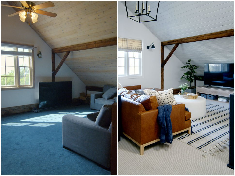 (Photo courtesy of Netflix) Before and after photos of a loft Shea McGee designed in