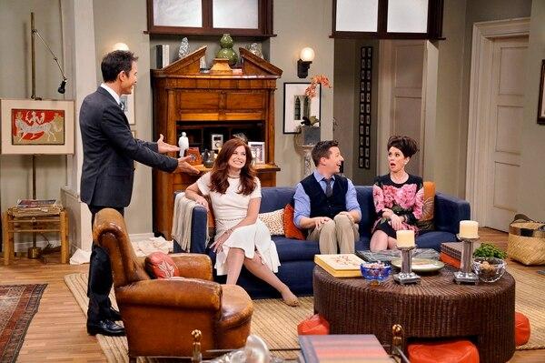 "(Chris Haston/NBC) Eric McCormack as Will Truman, Debra Messing as Grace Adler, Sean Hayes as Jack McFarland and Megan Mullally as Karen Walker in ""Will & Grace."""