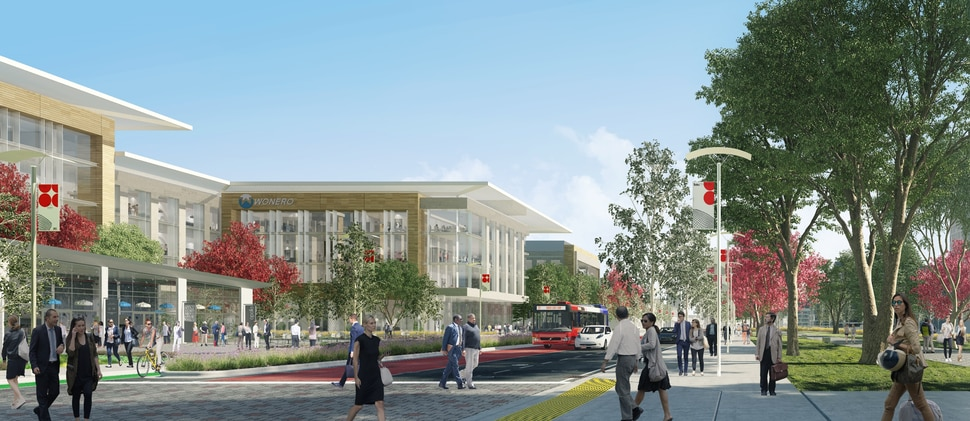 What a central street could look like near a possible new research or university center when the state prison property in Draper is redeveloped. (HOK/Envision Utah)