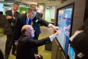 (Courtesy LDS Church) Robert Abrams, former New York attorney general, and other Jewish leaders were hosted by the LDS Church in a tour of Temple Square. Abrams collaborated with FamilySearch to research some of his family and show him the results at the Discovery Center.