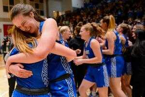 (Trent Nelson     The Salt Lake Tribune) Fremont's Emma Calvert celebrates as Fremont defeats Herriman High School in the 6A girls basketball state championship game, in Taylorsville on Saturday, March 6, 2021.