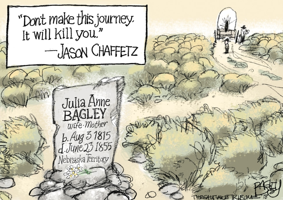 "(Pat Bagley | The Salt Lake Tribune) This Pat Bagley cartoon, titled ""Dangerous Trek,"" appears in The Salt Lake Tribune on Tuesday, Dec. 18, 2018."