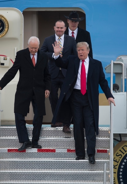 (Scott Sommerdorf | The Salt Lake Tribune) President Trump arrives with Senators Hatch and Lee, and Interior Sec. Zinke, after arrival of Air Force One at the Ronald R Wright National Air Guard Base, Monday, December 4, 2017.