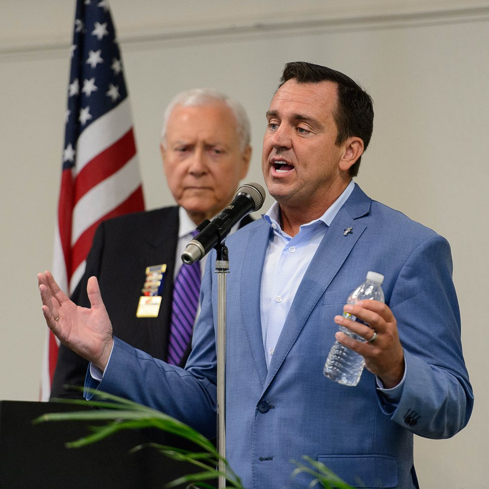 Trent Nelson | The Salt Lake Tribune Greg Hughes speaks as the Utah Republican delegation meets over breakfast in Akron, OH, Monday July 18, 2016. Senator Orrin Hatch at left.