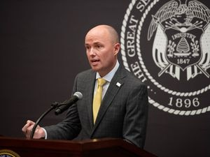(Francisco Kjolseth  | Tribune file photo) Gov. Spencer Cox, shown in this March 11, 2021, file photo, signed legislation on Tuesday that orders the merger of the Utah departments of health and human services, to be completed by July 1, 2022. Some have questioned the wisdom of the change during a pandemic.