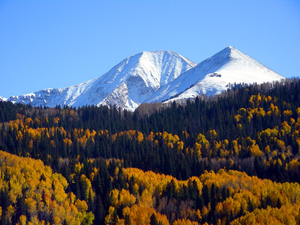 (Courtesy U.S. Forest Service) The La Sal Mountains rise above fall colors in the Manti-La Sal National Forest.