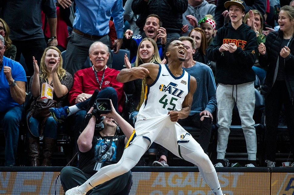 (Chris Detrick | The Salt Lake Tribune) Utah Jazz guard Donovan Mitchell (45) celebrates after being fouled and still making the basket during the game at Vivint Smart Home Arena Friday, December 1, 2017. Utah Jazz defeated New Orleans Pelicans 114-108.