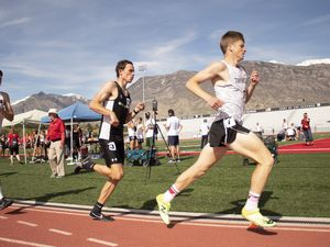 (Taylor Hatch) West Jordan High graduate Austin Klingler, center, runs a race for his school. Klingler, who verbally committed to BYU, won the Gatorade award for boys' track and field in Utah.
