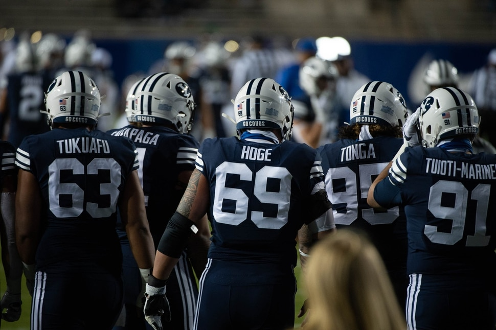 (Francisco Kjolseth | The Salt Lake Tribune) BYU takes takes to the field to take on Texas State during an NCAA college football game at LavVell Edwards Stadium, Saturday, oct. 24, 2020, in Provo, Utah.
