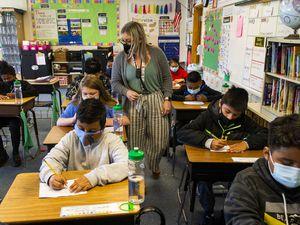 (Rick Egan   The Salt Lake Tribune).   McKenzie Jackson teaches 5th grade, at Lincoln Elementary School in South Salt Lake on Thursday, Nov. 5, 2020.