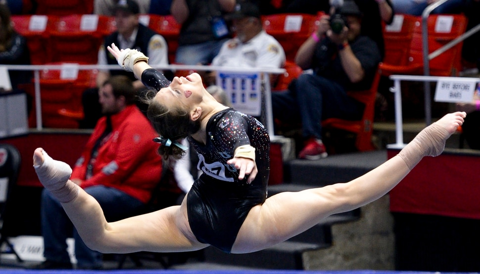 (Leah Hogsten | The Salt Lake Tribune) Missy Reinstadtler performs her floor routine. The fourth-ranked Utes compete against No. 9 California, No. 16 Auburn, No. 21 Brigham Young, Stanford and Southern Utah, during the the NCAA Regional Championships, Saturday, April 7, 2018 at the Huntsman Center. The top two teams advance to the NCAA Championships April 20-21 in St. Louis. Saturday, April 7, 2018,