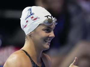 (Charlie Neibergall   AP) Rhyan White reacts after winning the women's 200 backstroke during wave 2 of the U.S. Olympic Swim Trials on Saturday, June 19, 2021, in Omaha, Neb. The Herriman native is expected to be a medal contender in Tokyo.
