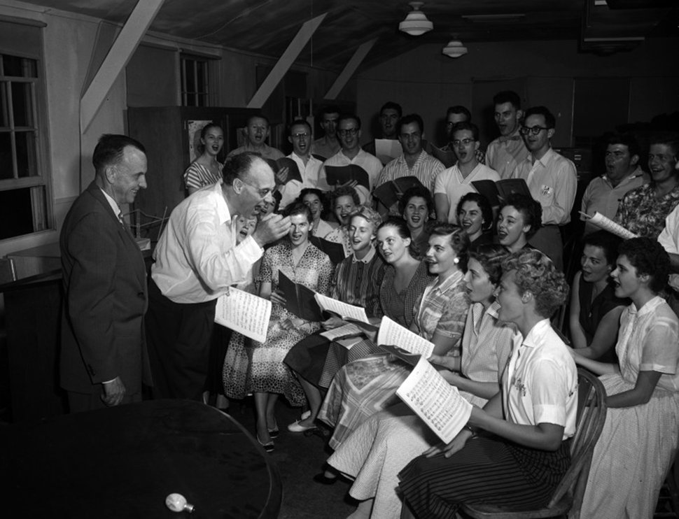 (Photo courtesy Utah State Historical Society) Utah Symphony conductor Maurice Abravanel leads a rehearsal in 1957.