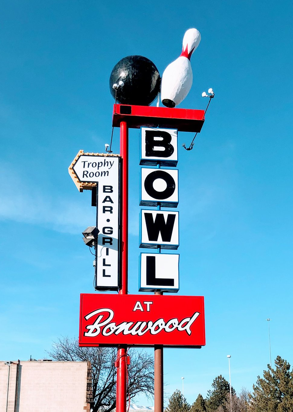 (Photo courtesy of Bonwod Bowl) The owners of the Bonwood Bowl have restored the iconic sign that was damaged last October, when the base of the sign was hit by a drunken driver.