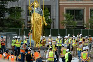 (Francisco Kjolseth | The Salt Lake Tribune) The Angel Moroni statue is pulled from atop the Salt Lake Temple of The Church of Jesus Christ of Latter-day Saints in 2020 as the iconic building undergoes extensive renovation. The LDS Church remains a dominant force in Utah, even as the state's faith landscape grow richer and more diverse.