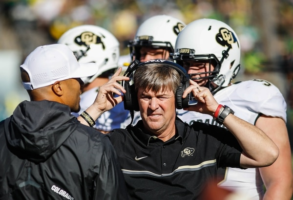 Colorado head coach Mike MacIntyre works the sidelines against Oregon in an NCAA college football game Saturday, Sept. 24, 2016 in Eugene, Ore. (AP Photo/Thomas Boyd)