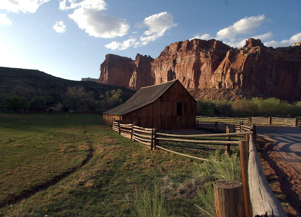(Tribune file photo) Wayne County's main tourist attraction is Capitol Reef National Park. This barn inside the park, near the campground harks back to the area's agricultural past.