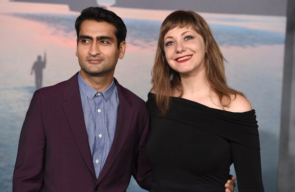 In this March 8, 2017 file photo, Kumail Nanjiani, left, and his wife Emily Gordon arrive at the Los Angeles premiere of