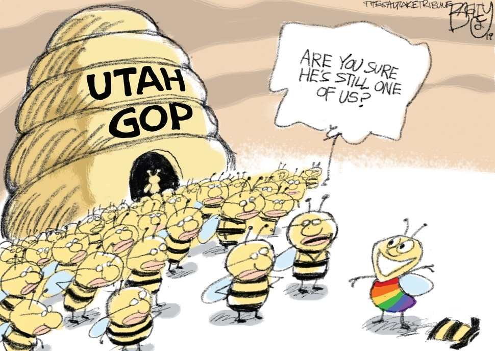 "(Pat Bagley | The Salt Lake Tribune) This cartoon, titled ""Utah LGBeeTQ,"" appears in the Salt Lake Tribune on Friday, May 24, 2019."