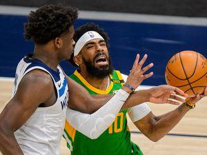 (Trent Nelson  |  The Salt Lake Tribune) Utah Jazz guard Mike Conley (10) as the Utah Jazz host the Minnesota Timberwolves, NBA basketball in Salt Lake City on Saturday, April 24, 2021.
