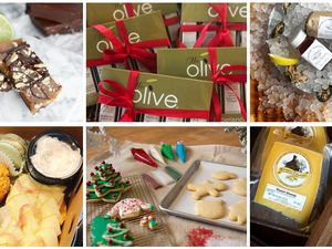 (Courtesy photos) Last-minute gifts for Christmas, clockwise from upper left: small-batch toffee at Cache Toffee, gifts from Olive in Trolley Square, the oyster kit at SLC Eatery, mac 'n' cheese gift box from Utah's Rockhill Creamery, cookie decorating kit from Flourish Bakery and the tea party to-go from Honey Tea Hive.