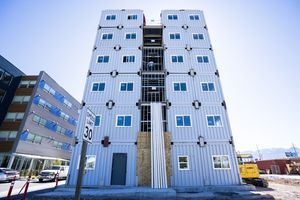 (Rick Egan | The Salt Lake Tribune) The Box 500 apartments on 500 South in Salt Lake City, made from shipping containers is set to open later this summer, following years of roadblocks,Thursday, May 27, 2021.