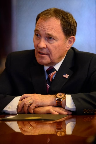 (Trent Nelson | The Salt Lake Tribune) Utah Governor Gary Herbert in his Salt Lake City office, Thursday March 8, 2018.