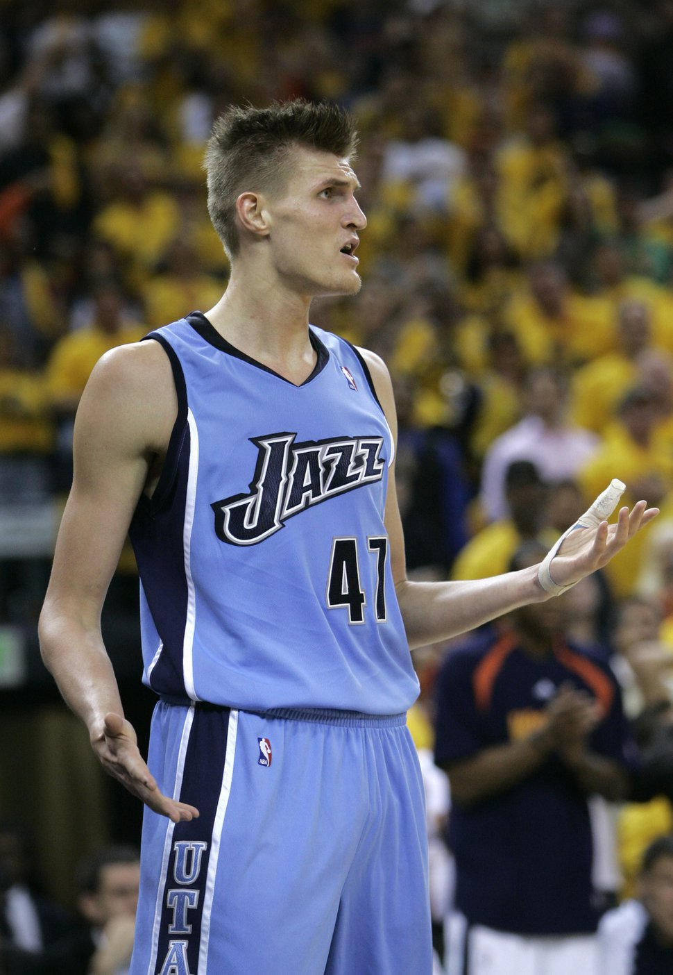 Utah Jazz's Andrei Kirilenko, of Russia, argues with an official's call against the Golden State Warriors in the first half of an NBA Western Conference second-round basketball playoff game on Friday, May 11, 2007, in Oakland, Calif. The Warriors won 125-105. (AP Photo/Jeff Chiu)