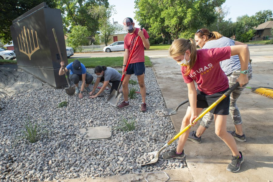 (Rick Egan   The Salt Lake Tribune) Volunteers from The Church of Jesus Christ of Latter-day Saints' Highland Utah South Stake help xeriscape the grounds around Congregation Koa Ami on Wednesday, Aug. 5, 2020