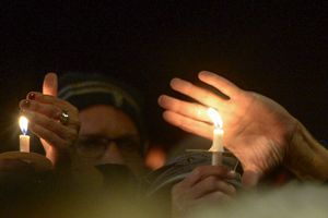 (Leah Hogsten  |  The Salt Lake Tribune)  Members of Utah's Jewish and interfaith communities hold a vigil and prayer service at Congregation Kol Ami, Tuesday, Oct. 30, 2018, for the 11 people killed at the Tree of Life Synagogue in Pittsburgh.