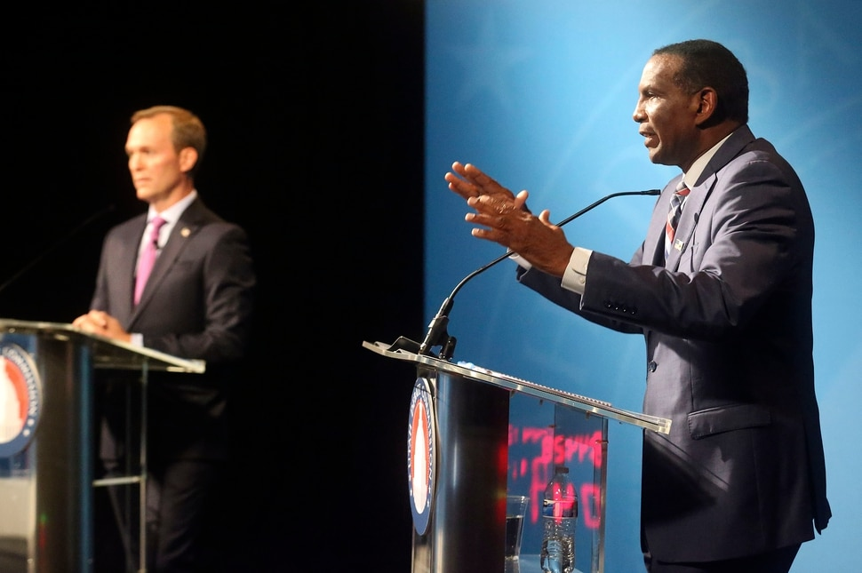 (Kristin Murphy | Deseret News/pool) 4th Congressional District candidate Burgess Owens participates in a Utah Debate Commission debate with his opponent Rep. Ben McAdams, left, at the Triad Center in Salt Lake City on Monday, Oct. 12, 2020.