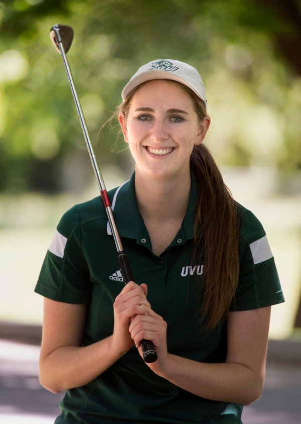 Rick Egan | The Salt Lake Tribune Monica Yeates overcame a mysterious illness and family tragedy to play on the Utah Valley University golf team, as a senior and graduate from the school. Wednesday, June 7, 2017.