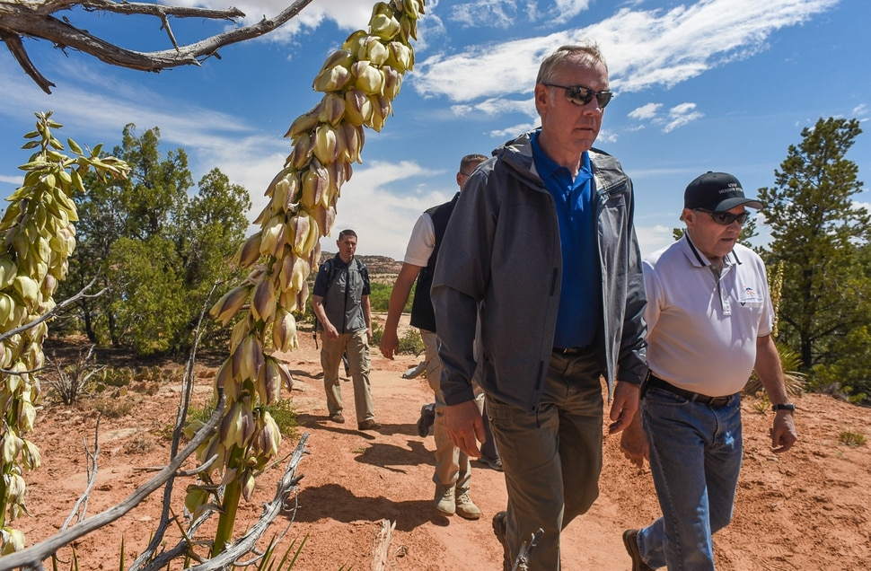 Francisco Kjolseth | The Salt Lake Tribune Interior Secretary Ryan Zinke hikes along the Butler Wash Indian Ruin trail alongside Utah Gov. Gary Herbert during a tour of the Bears Ears National Monument on Monday, May 8, 2017.